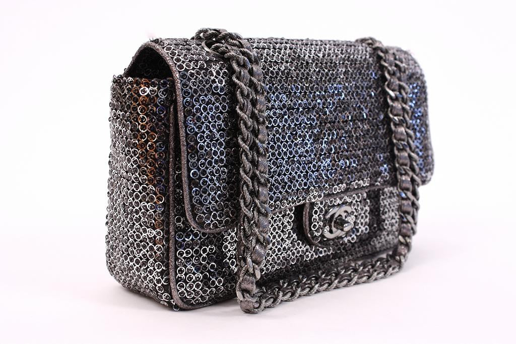 4c82ba0abef6 CHANEL Silver Hidden Sequin Classic Flap Bag at Rice and Beans Vintage