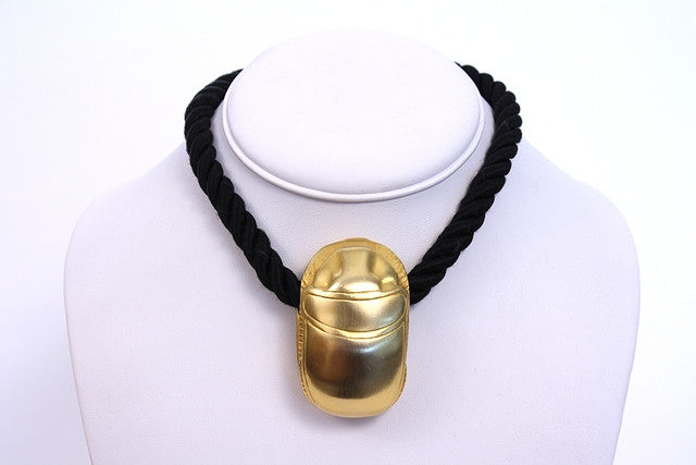 Vintage Kenneth Lane Gold Scarab Necklace