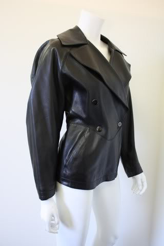 1990s ALAIA Black Fitted Corset Leather Jacket