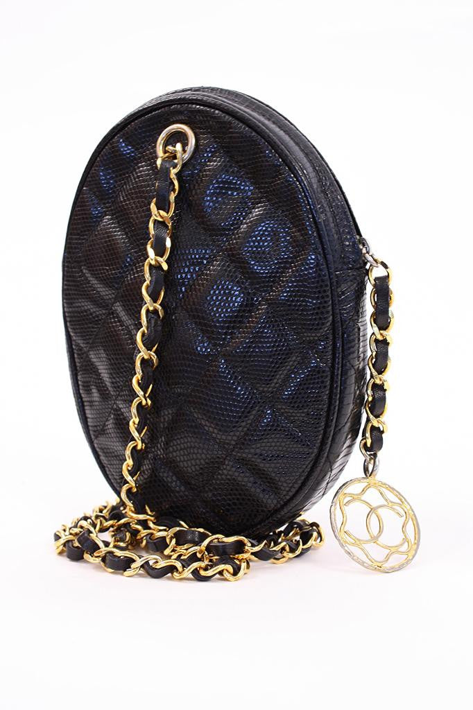 Rare Vintage Chanel Black Lizard Handbag