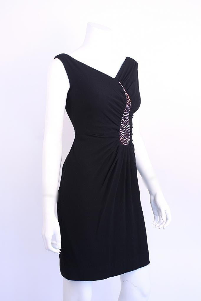 Vintage 60's Crepe & Rhinestone Dress