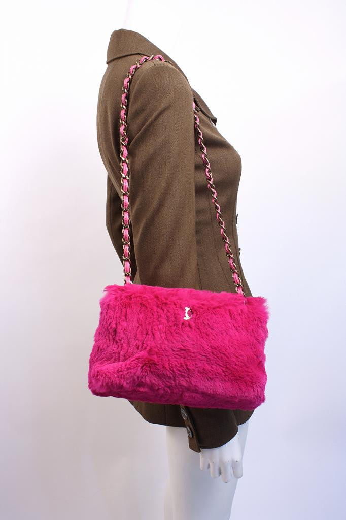 19f9899479f6 CHANEL Pink Lapin Rabbit Fur Bag at Rice and Beans Vintage