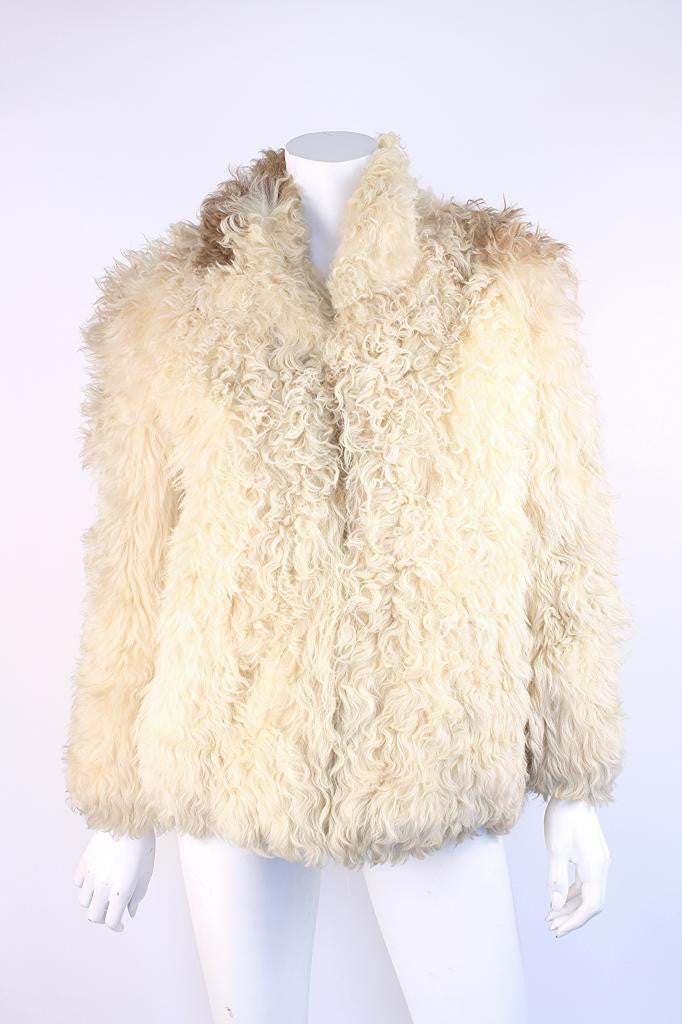 Vintage 70's Textured Shearling Fur Coat