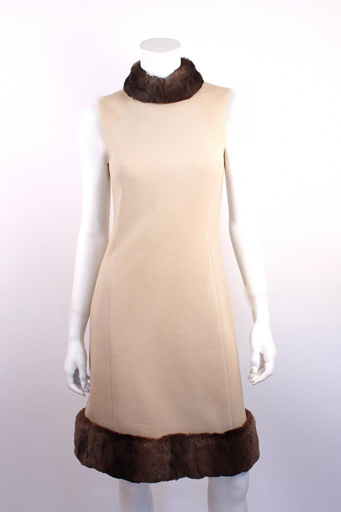 Vintage 60's Lilli Ann Wool & Fur Dress