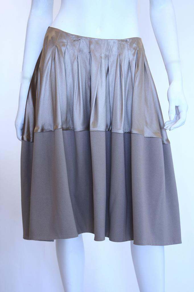 MARNI Taupe Silk Skirt