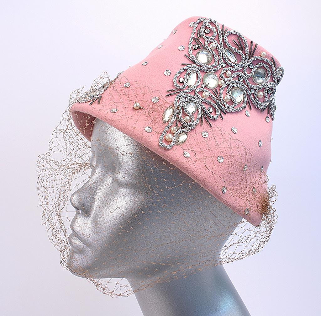 Vintage Rhinestone Hat with Veil
