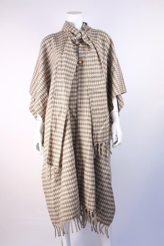 Vintage 70's Wool Houndstooth Cape