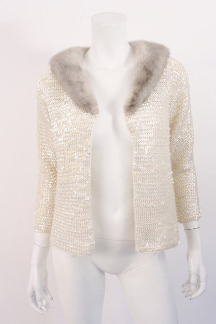 Vintage 60's Knit Sequin Sweater Mink Collar