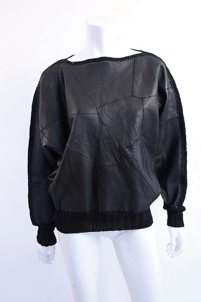 Vintage Leather & Crochet Top Sweatshirt