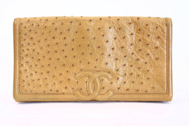 Vintage Chanel Natural Ostrich Clutch