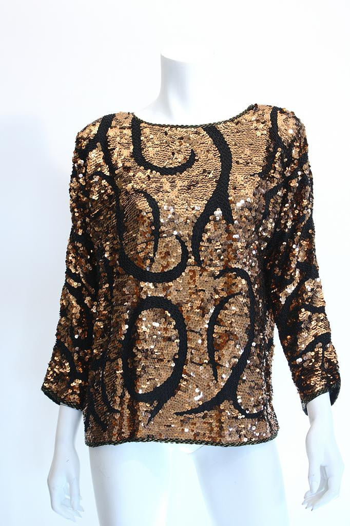 Vintage 80's Bronze & Black Sequin Top