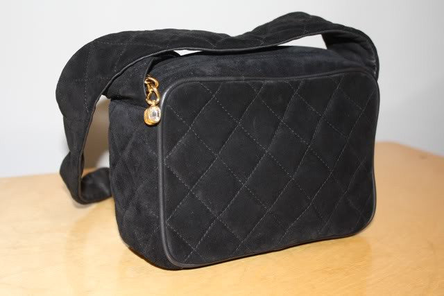 Vintage 1986-1988 CHANEL Classic Black Quilted Suede & Leather Camera Bag with CC & Rhinestone Zipper Pull