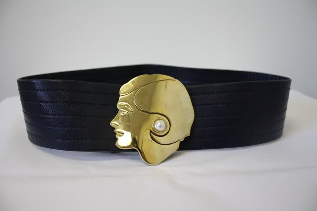 RARE Vintage 70's CHANEL Navy Blue Leather Belt with Large Gold COCO CHANEL Head Buckle with Pearl Earrings