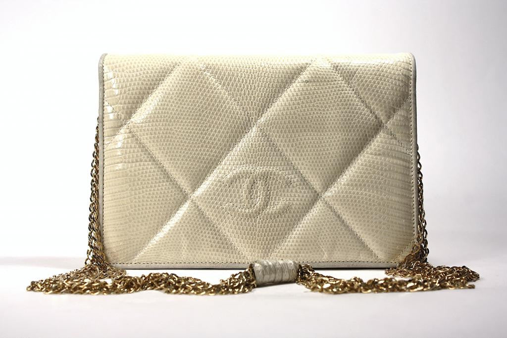 Rare Vintage CHANEL Cream Lizard CC Flap Bag or Clutch