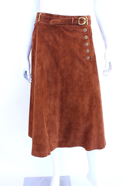 Vintage 70's Gucci A Line Suede Skirt