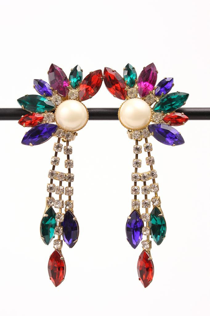 "Vintage Rhinestone & Pearl ""Bird of Paradise"" Earrings"