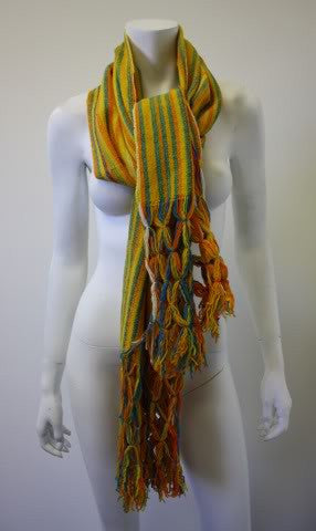 Vintage Colorful Yellow Woven Wool Scarf