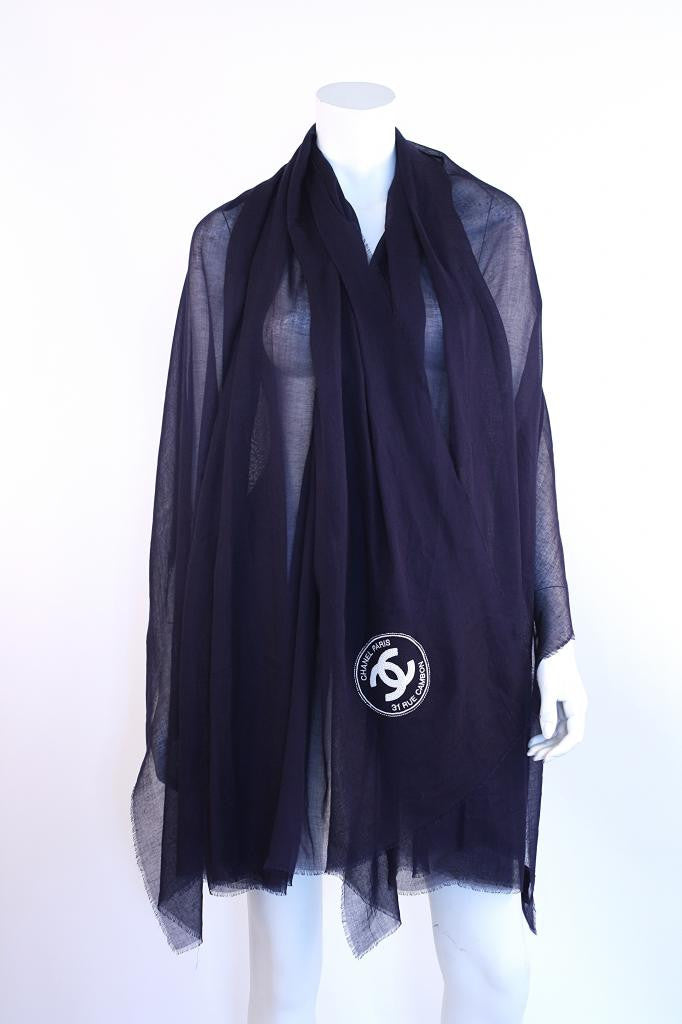 Rare CHANEL Navy Beaded Shawl