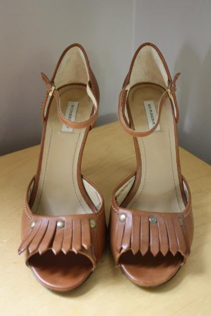 BURBERRY Brown Leather Equestrian Heels with Tassel Vamps, sz 36.5