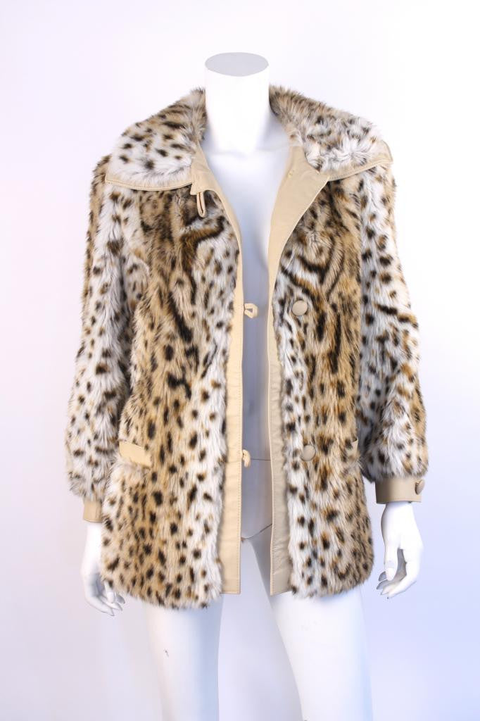 Vintage 70's Animal Print Faux Fur Coat