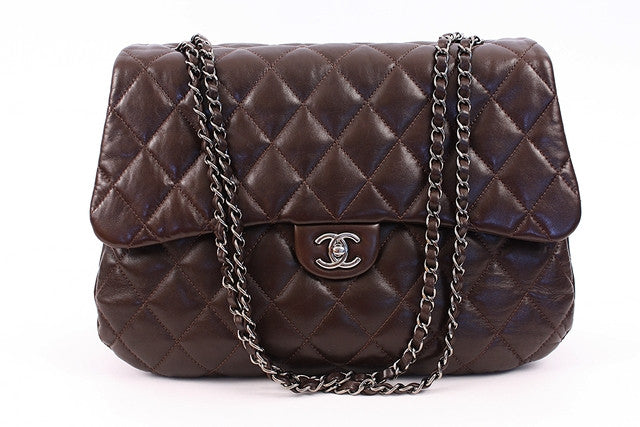 CHANEL Jumbo Brown Flap Handbag