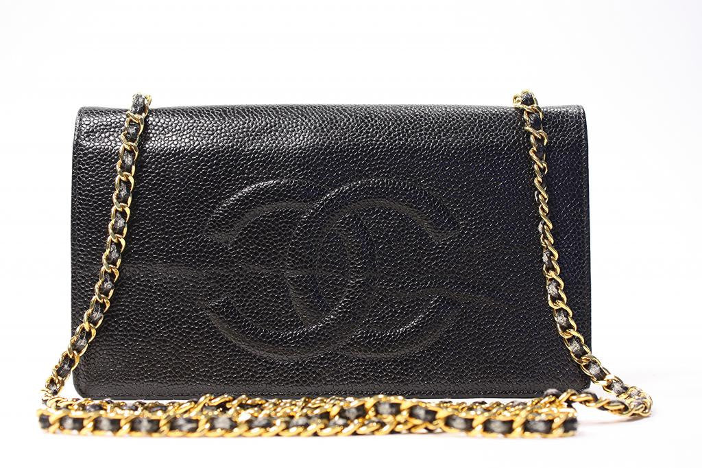 CHANEL Black Caviar CC Wallet on a Chain Handbag