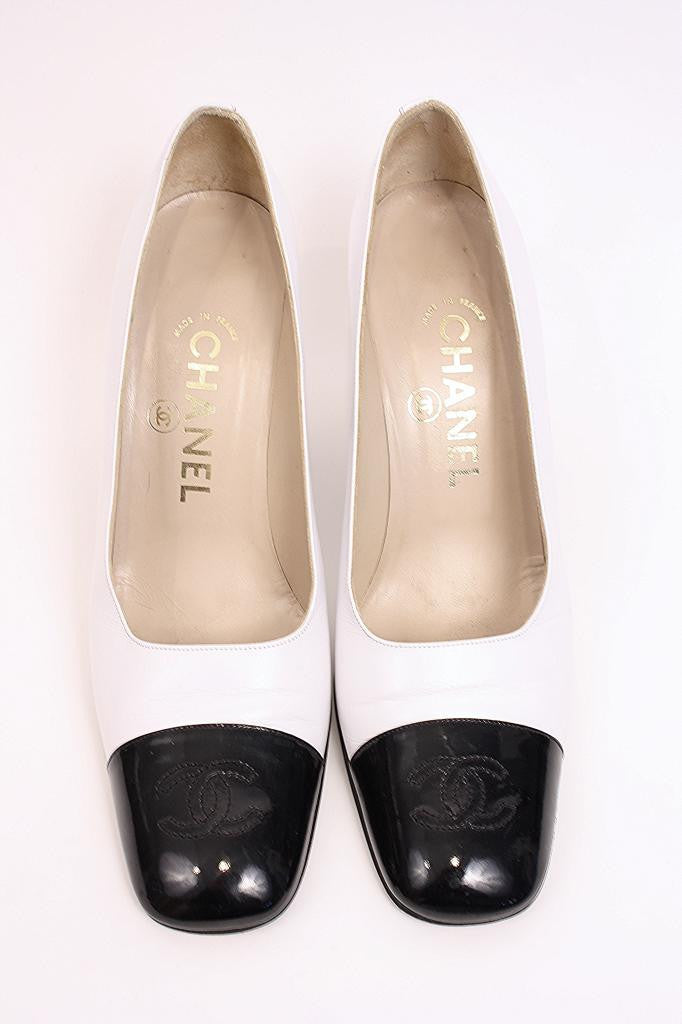 Vintage Chanel CC Cap Toe Pumps