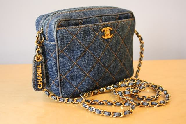 RARE 90's CHANEL Quilted Blue Demin Small Bag with Gold CC Clasp, CHANEL Nameplate Zipper Pull & Chain Strap