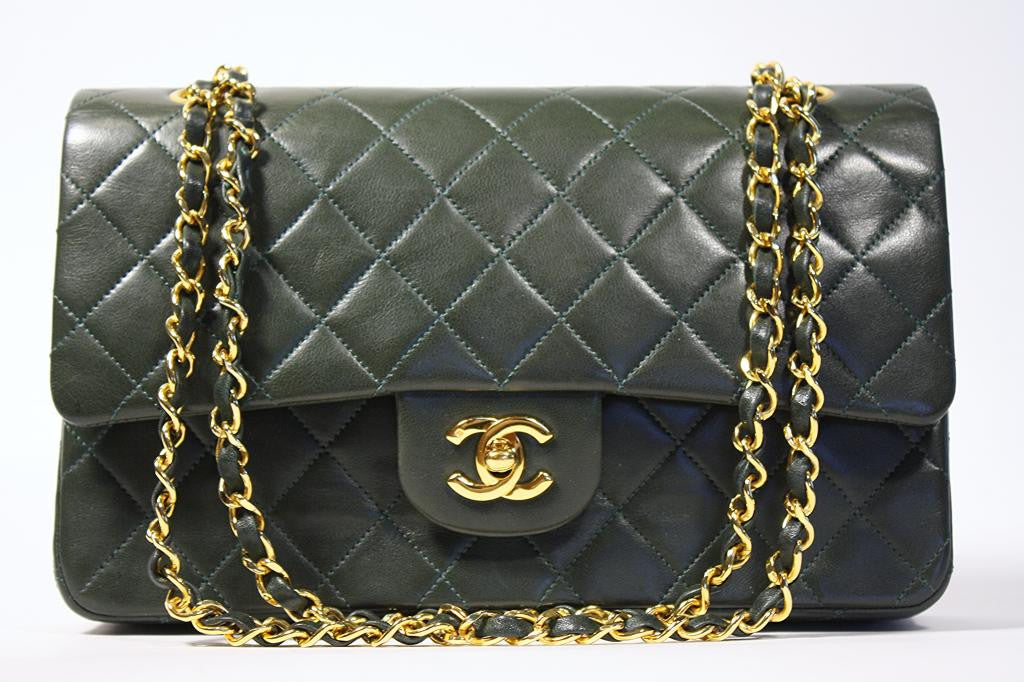 RARE Vintage CHANEL Forest Green 2.55 Double Flap Handbag