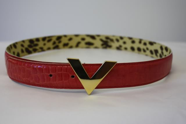 VALENTINO Red Crocodile Embossed Leather Belt