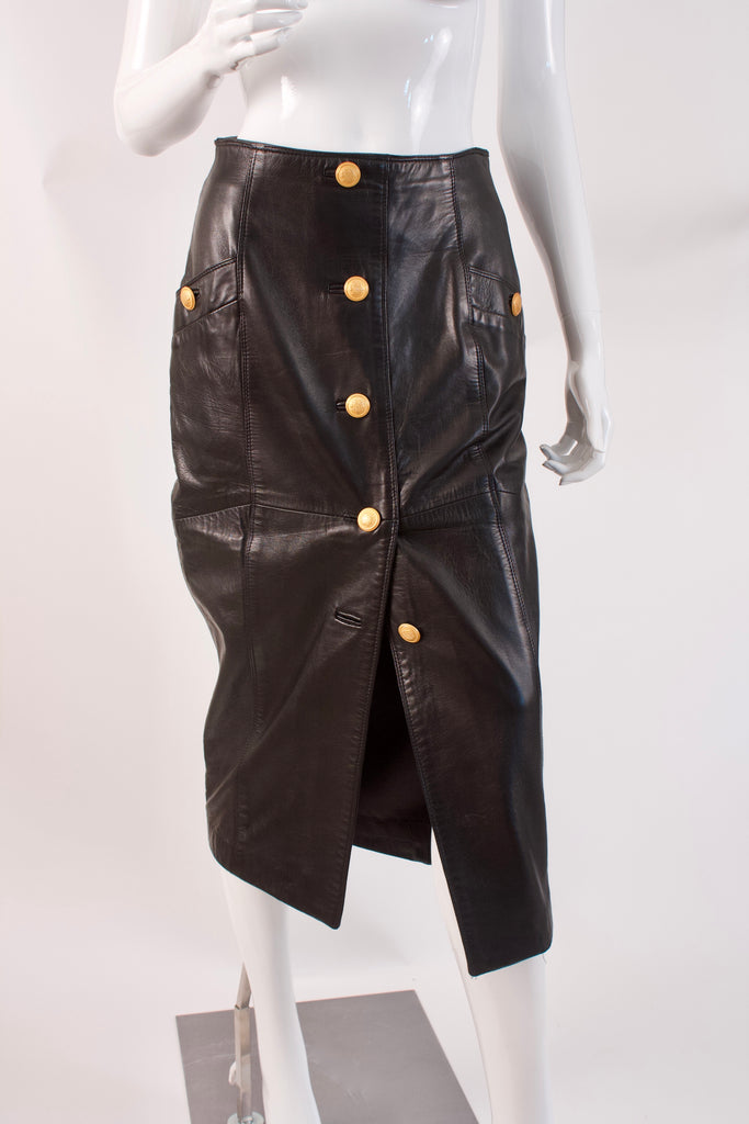 Vintage 80's Black Leather Skirt