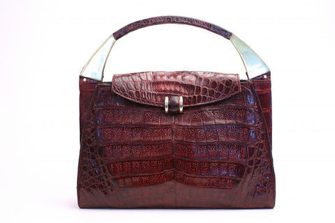 Vintage 70's Wine Crocodile Belly Handbag