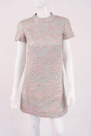 Vintage 60's Silk Brocade Mini Dress