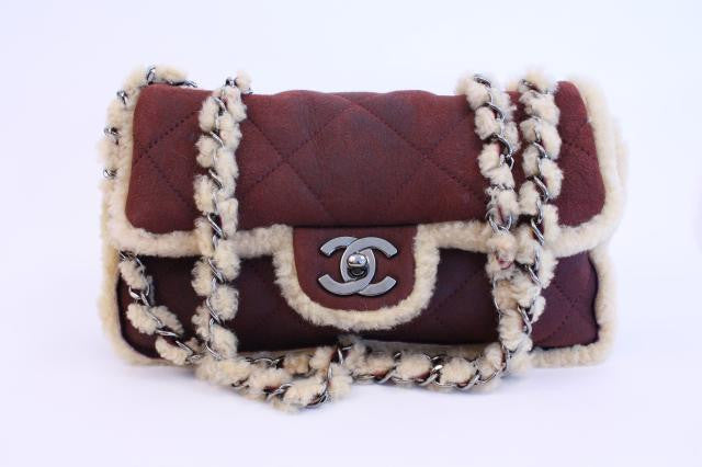 Rare Chanel Bordeaux Shearling Classic Flap Bag