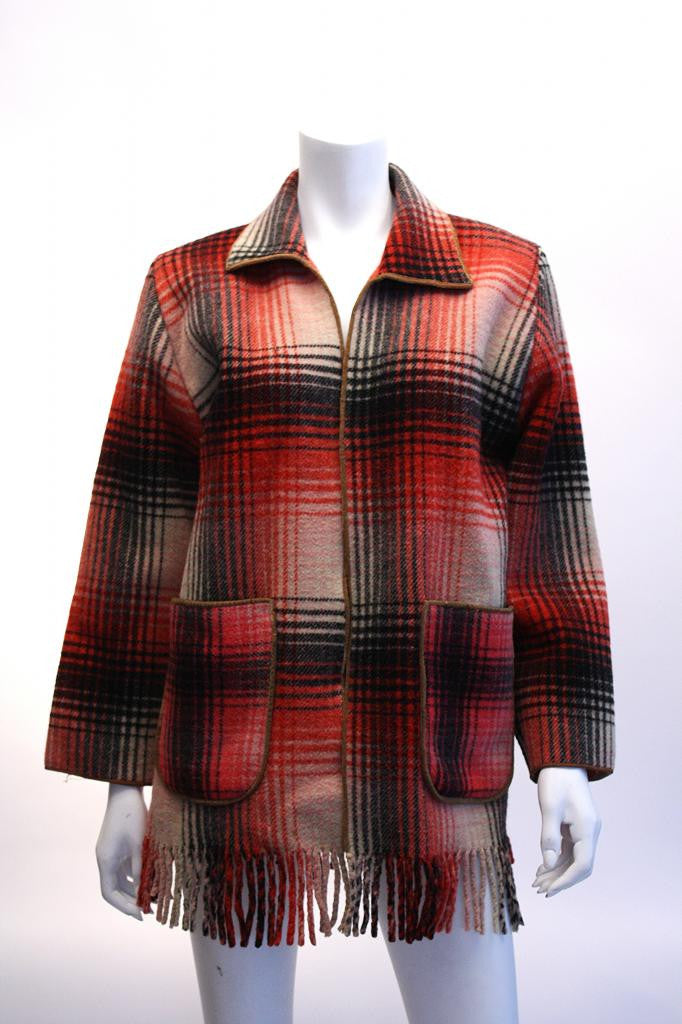 Vintage Plaid Wool Jacket with Fringe