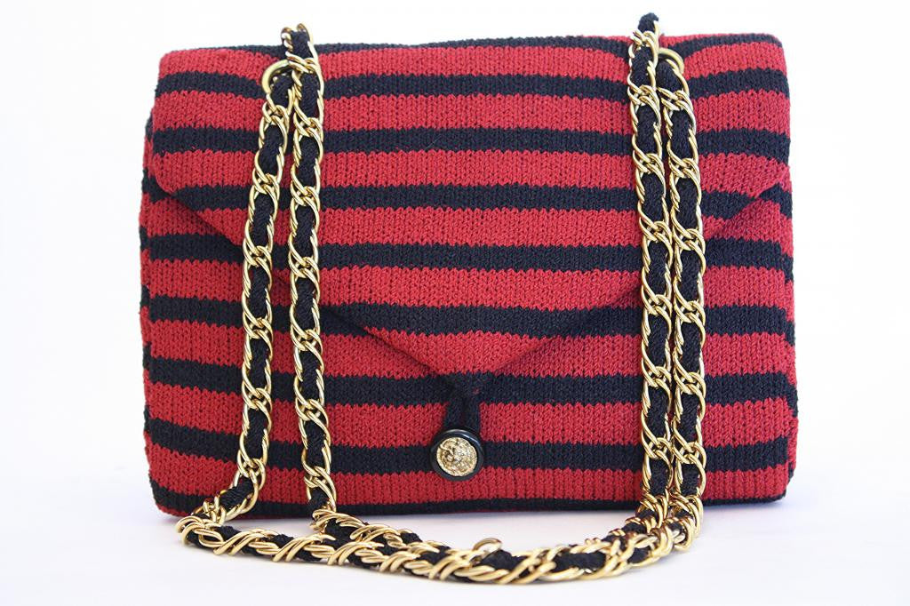 1970s ADOLFO Striped Wool Jersey Flap Handbag