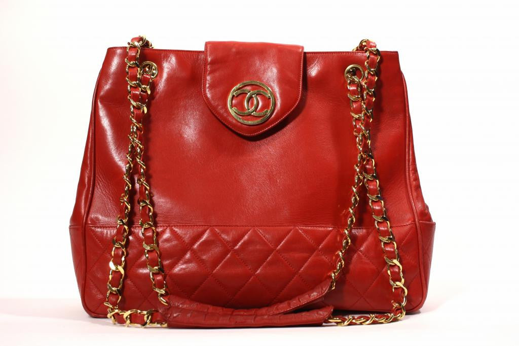 Vintage Chanel Red Leather Tote Handbag