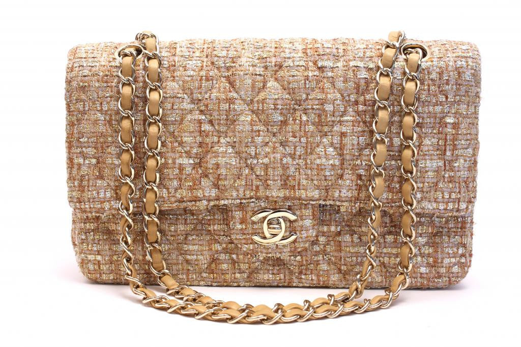 Chanel gold tweed 2.55 double flap bag
