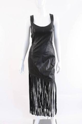 ESCADA Black Leather Dress with Fringe