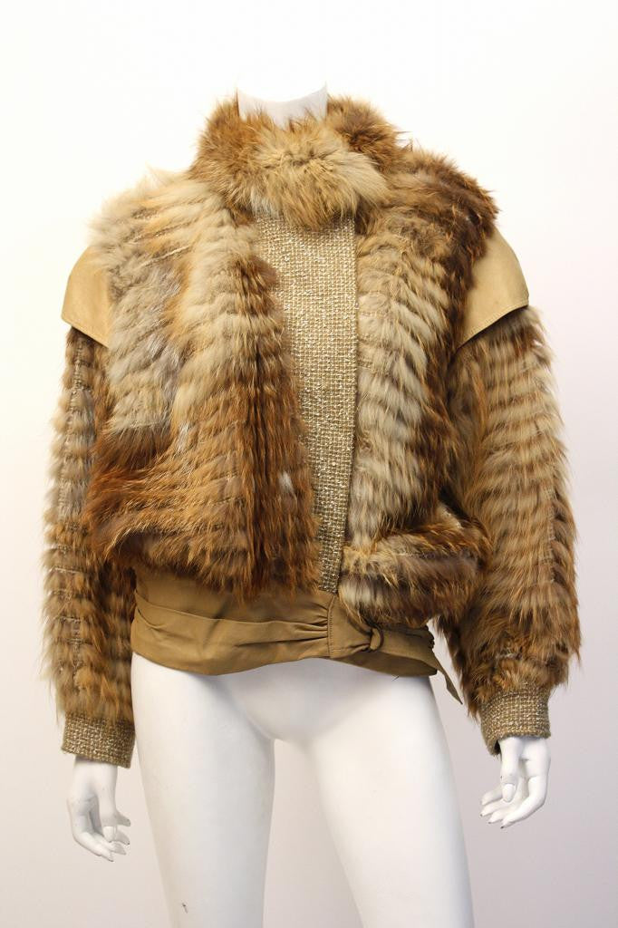 Vintage 80's MARILYN BLUMER Red Fox Fur & Leather Coat