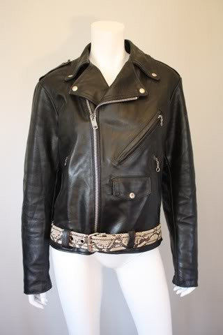 Vintage Motorcycle Jacket with Python Belt