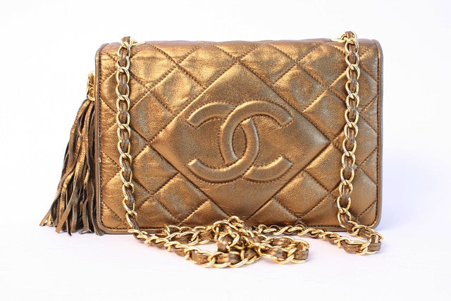 2d243c31c126ff Vintage CHANEL Bronze Flap Bag at Rice and Beans Vintage