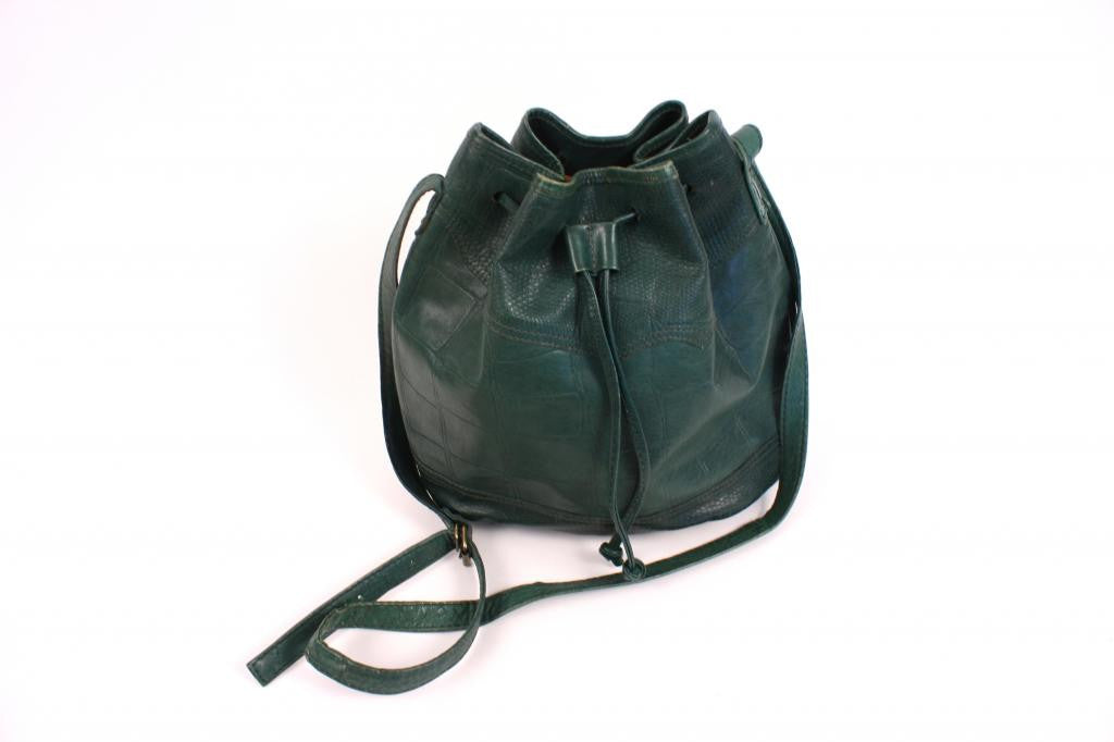 Vintage Green Leather Bucket Bag
