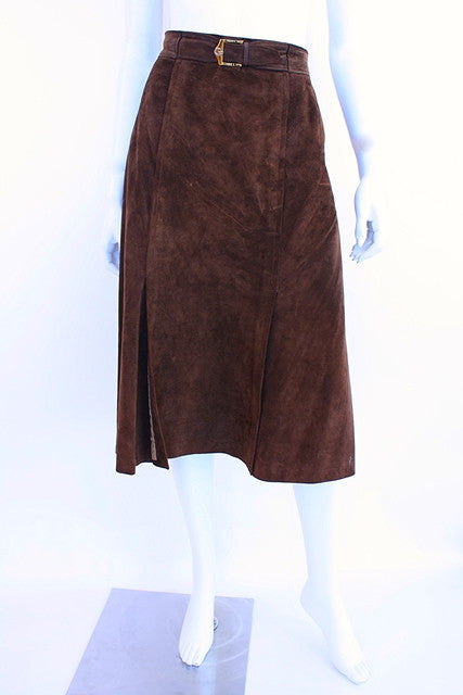 Vintage 70's Gucci Suede A Line Skirt
