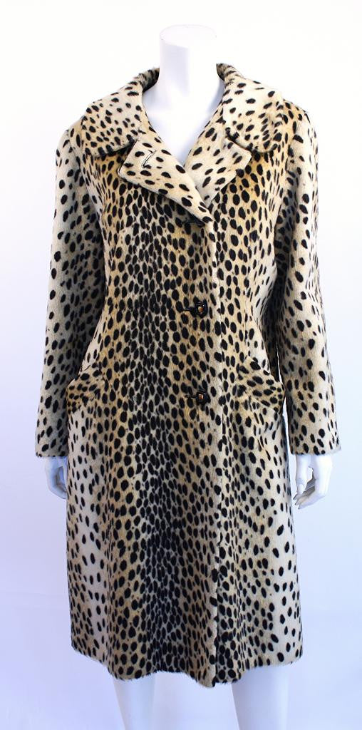 Vintage 60's Safari by Fairmoor Faux Leopard Fur Coat
