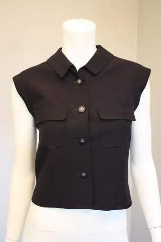 CHANEL '96P Navy Blue Wool Sleeveless Vest Top with Silver CC Buttons