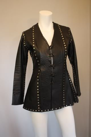 Vintage 70's Black Leather Jacket Covered in Silver Studs