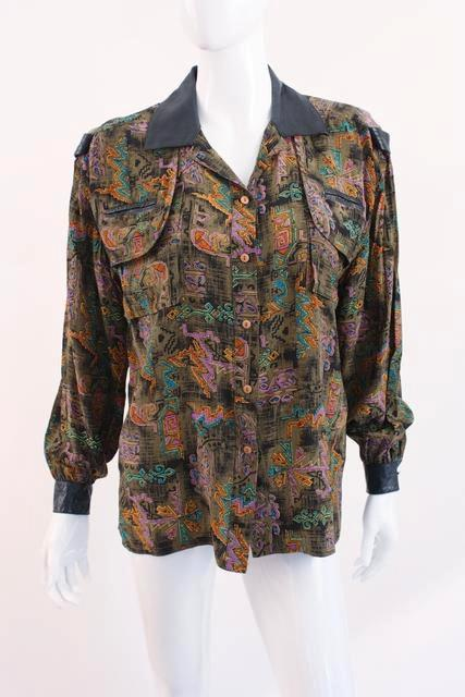 Vintage silk leather blouse
