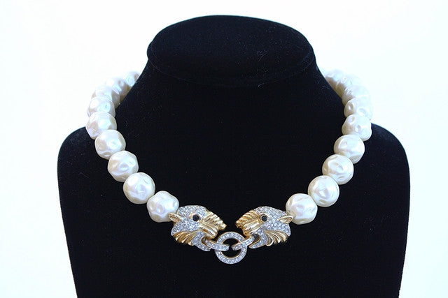 Vintage Panther & Pearl Necklace