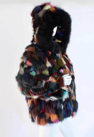 Rare Vintage 80's Rainbow Fox Fur Coat With Hood